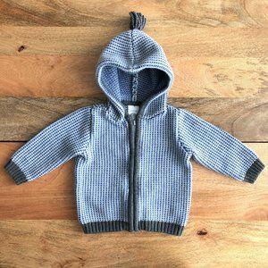 GYMBOREE Hoodie zip sweater blue grey white 12-18m